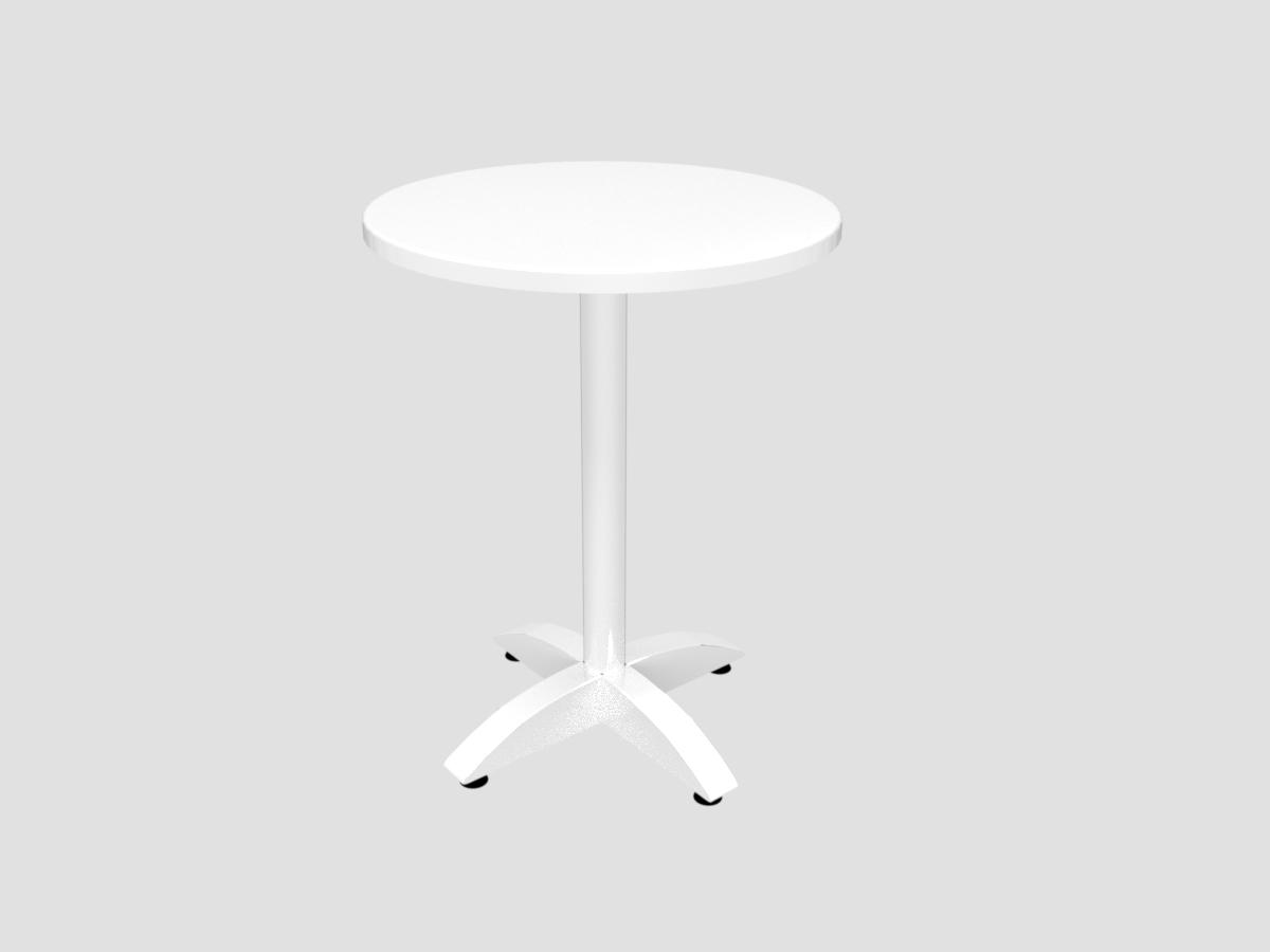 Bistrotisch mit weißer Platte D=600 mm, Chromfuß