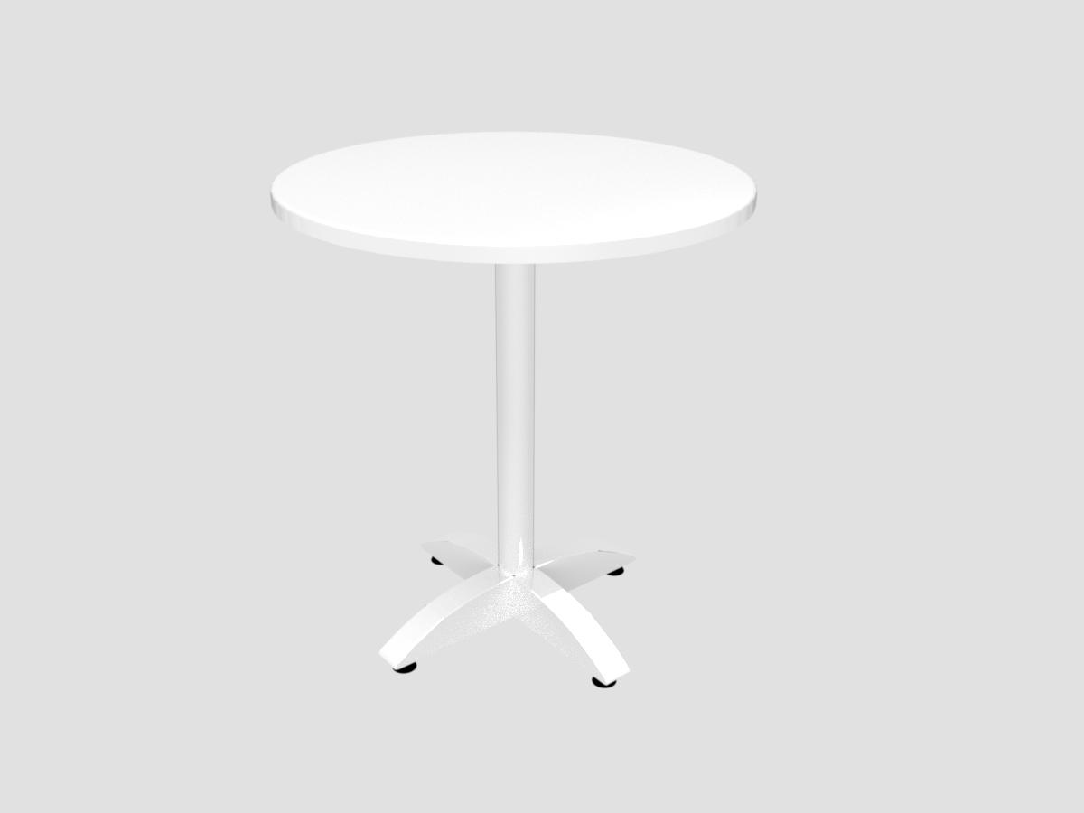Bistrotisch mit weißer Platte D=700 mm, Chromfuß