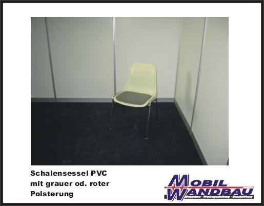 Schalensessel PVC weiß, gepolstert
