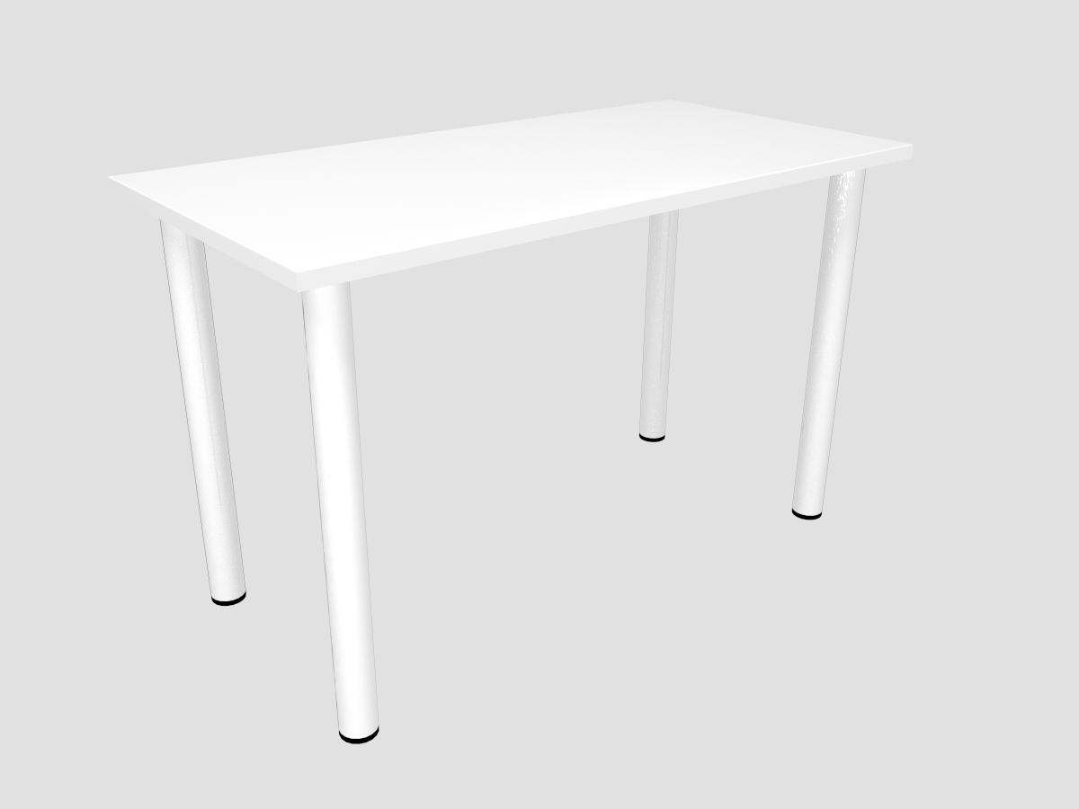 Besprechungstisch 120 x 60 cm weiß mit Edelstahlfüssen